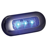 LED OBLONG COURTESY LIGHTS-3 L SS Bezel, 3 Blue LEDs
