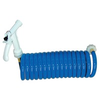 WASHDOWN STATION-Coiled Hose, 15' Blue, w/Pistol Grip Nozzle