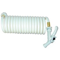 WASHDOWN STATION-Coiled Hose Only, 15' White, w/Pistol Grip Nozzle
