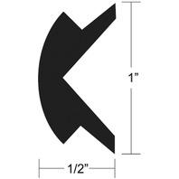 "RIGID VINYL RUB RAIL, FLEXIBLE INSERT-70'L, 1""H x 1/2""W, White"