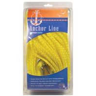 """HOLLOW BRAID POLY ANCHOR LINE-3/8"""" X 75', Yellow"""