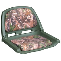 PLASTIC FOLD DOWN BOAT SEAT, CAMOUFLAGE-Realtree Camo, Green Shell