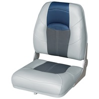 BLAST-OFF TOUR SERIES HIGH BACK FOLDING BOAT SEAT -Gray/Charcoal/Blue