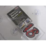 """REBKG400 Hardline 3"""" Boat Lettering Registration Decal Kit Red/Black"""