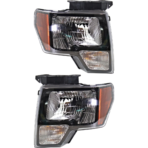 Fits 09-14 Ford F150 Left & Right Halogen Headlamp Assembly W/Black Trim - Set