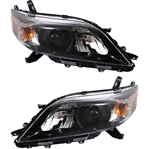 Fits 11-17 Toy Sienna Left & Right Side Halogen Headlights w/smoked bezel