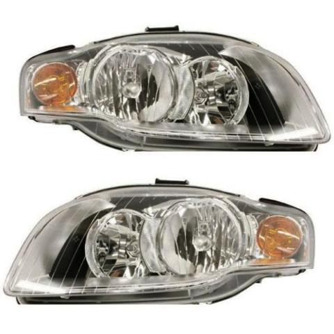 Fits 05-08 Audi A4 Gen 3 Sedan/Wagon 07-09 A4 Conv Left & Right Headlamp - Set