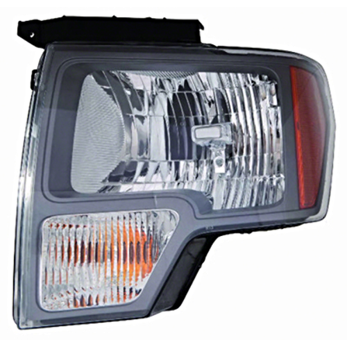 Fits 09-14 Ford F150 Left Driver Halogen Headlamp Assembly W/Sterling Gray Trim