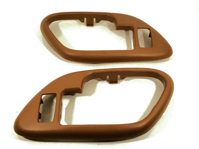Chevy GMC Pickup Interior Door Handle Bezel Brown Left & Right Set fits Front/Rear