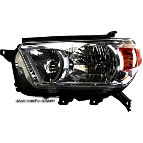 Right Passenger Halogen Headlight Assembly for 10-13 Toy 4Runner w/Black Bezel