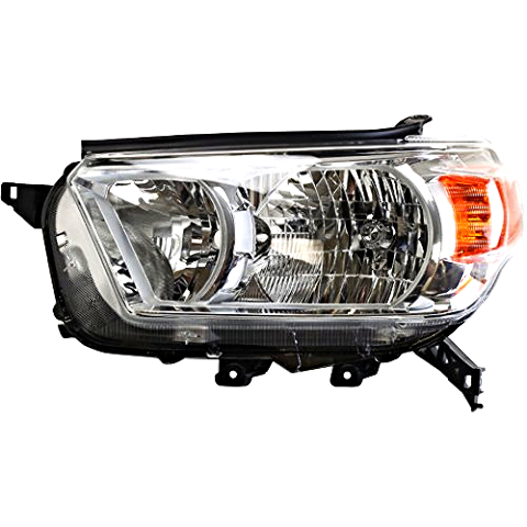 Left Driver Side Halogen Headlight Assembly for 10-13 Toy 4Runner w/Chrome Bezel