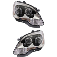 Fits 08-12 GMC Acadia Left & Right Halogen Headlamp Assem W/Clear Lens - Pair