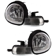 Fits 00-02 Dodge Neon Left & Right Headlamp Assembly With Chrome Bezel - Set