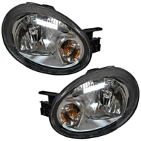 03-05 Dodge Neon Left & Right Headlamp Assembly w/black bezel - Set