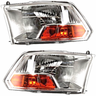 Fits 11-12 Ram 1500 Pickup Left & Right Headlamp Assemblies WithOut Quad lights