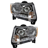FIts 11-13 Jeep Compass Left & Right Halogen Headlamp Assemblies w/o leveling (pair)
