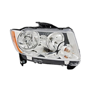 Fits 11-13 Jeep Compass Right Passenger Halogen Headlamp Assembly w/o leveling