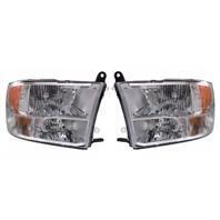 Fits 13-17 Ram Pickup Left & Right Set Halogen Headlamp (Standard) Chrome Bezel