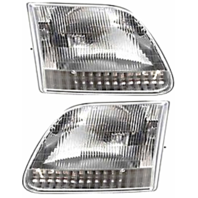 Fits 97-99 Ford F250 Light Duty; 97-02 Expedition Left & Right Headlamp Assm-Set