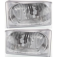 Fits 00-04 Ford Excursion Left & Right Headlamp Assem w/clear center lens - Set