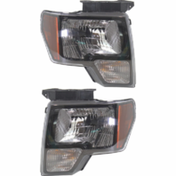 Fits 09-14 Ford F150 Left & Right Halogen Headlamp Assembly W/Sterling Gray Trim
