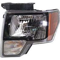 Fits 09-14 Ford F150 Left Driver Halogen Headlamp Assembly W/Black Trim