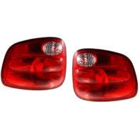 Fits 00-03 Ford F150 Flareside / 04 Ford F150 Heritage Flareside / 01-04 Ford F150 Crew Cab Left & Right Set Tail Lamp Unit Assemblies w/Red Lens