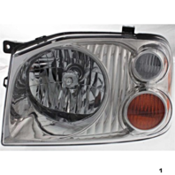 FITS 01-04 NISSAN FRONTIER LEFT DRIVER HEADLAMP ASSEMBLY With/BLACK-CHROME BEZEL