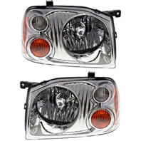 FITS 01-04 NISSAN FRONTIER LEFT & RIGHT SET HEADLAMP ASSEMBLY With/CHROME BEZEL