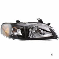 FITS 02-03 NISSAN SENTRA RIGHT PASSENGER HEADLAMP ASSEMBLY With/BLACK BEZEL