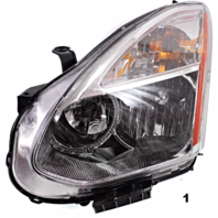 FITS 08-13 NISSAN ROGUE LT DR HALOGEN HEADLAMP ASSEMBLY W/Out RIBBED SIGNAL LENS