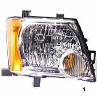 FITS 05-13 NISSAN XTERRA RIGHT PASSENGER HEADLAMP ASSEMBLY With/CHROME BEZEL