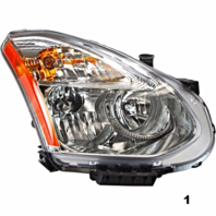 FITS 08-13 NISSAN ROGUE RT PASS HALOGEN HEADLAMP ASSEMB With/RIBBED SIGNAL LENS