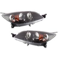 Fits 04-09 Mazda 3 Hatchback (excludes Mazdaspeed) L & R Halogen Headlamp -pair