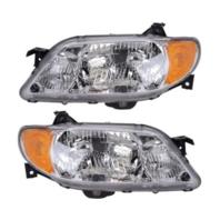 Fits 01-03 Mazda Protege Sedan Left & Right Headlamps  w/Aluminum Bezel - pair
