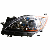FITS 10-13 MAZDA 3 LEFT DR HALOGEN HEADLAMP ASSEMBLY With/CHROME PROJECTOR BEZEL