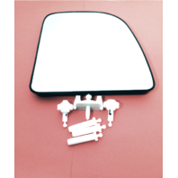 00-04 E Van Right Pass Mirror Glass Upper & Lower Set w/Rear Mount Backing Plate