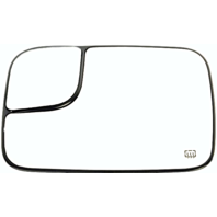 Fits 02-05 Ram Pickup Left Driver Side Heated  2 Piece Flip Up Tow / Trailor Mirror Glass w/ Holder