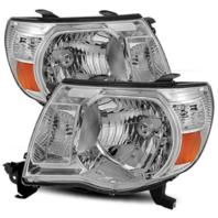 Fits 05-11 Toy Tacoma Driver & Passenger Side Headlight w/Chrome Bezel (pair)
