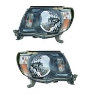 Fits 05-11 Toy Tacoma Driver & Passenger Side Headlight  w/Black Bezel (pair)