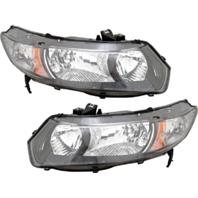 FIts 09-11 Honda Civic Coupe L & R Headlamp w/black bezel- clear park lens-pair