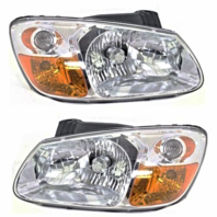 Fits 07-09 Kia Spectra, 07-09 Spectra5 Left & Right Headlamp Assem W/ChromeBezel