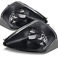 Fits 00-02 To 01-02 Mits Eclipse Left & Right Headlamp Assem - Set W/Black Bezel