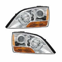 Fits 07-08 Up to Prod 4/21/08 Kia Sorento Left & Right Headlamps W/Chrome Bezel
