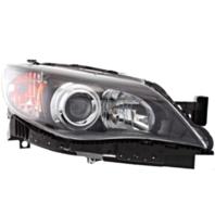 Fits 08-11 Subaru Impreza; WRX Right Passenger Halogen Headlamp w/Black Bezel