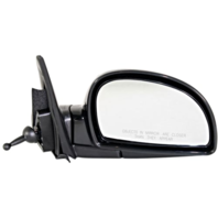 Fits 02-05 Hyundai Accent Right Passenger Mirror Manual Remote Non-Painted Black