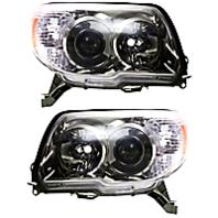Left & Right Set Halogen Headlight Assemblies for 10-13 Toy 4Runner w/Chrome Bzl