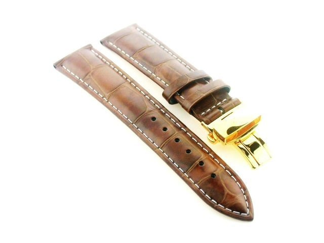 20mm leather strap watch band deployment clasp for longines light brown 3b gold ebay for Longines leather strap