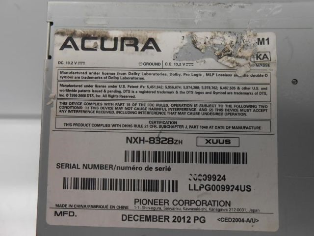 2012 acura tl radio serial number