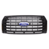 OEM Ford F-150 XLT Pickup Center Front Grille Unpainted Bars Black-1 Peg Missing